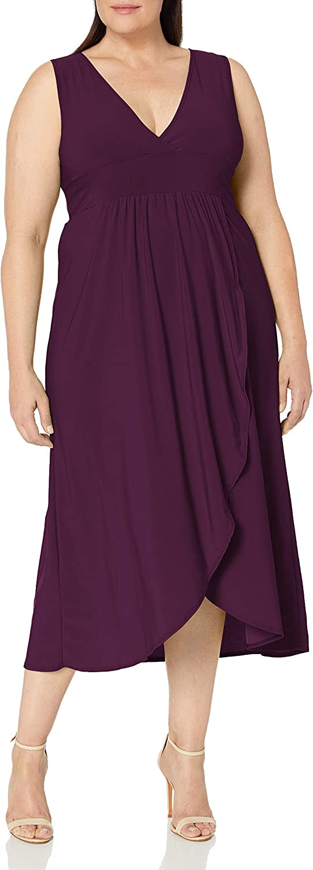 Star Vixen Women's Plus Size Sleeveless Summer Surplice Tulip Skirt Empire Band Maxi Dress