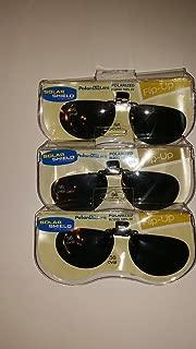 3 pair 56 Oval solar shield flip-up polarized clip-on sunglasses with gray lenses