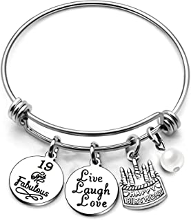 AGR8T Bangle Bracelets Gifts for Her Happy Birthday Bangles Cake Live Laugh Love Charms Women Girl