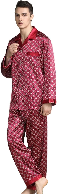 Elegant Mens Pajamas, Two Piece Set, Soft Satin Feel Sleepwear