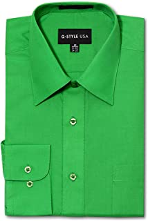 G-Style USA Men's Regular Fit Long Sleeve Solid Color Dress Shirts - Green - X-Large - 32-33
