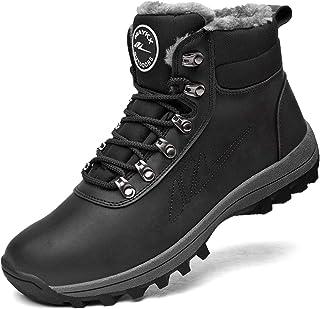 MEHOTO Men Women Warm Snow Boots, Soft Warm Sole Fur Lined Waterproof Anti Klip Winter Ankle Hiking Climping Walking Booties, Color Black
