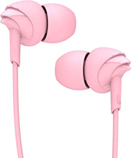 boAt BassHeads 100 in-Ear Wired Earphones with Super Extra Bass, in-line Mic, Hawk Inspired Design and Perfect Length Cable (Taffy Pink)