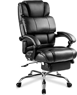Executive Chair Office Big and Tall,JULYFOX Bonded Leather Reclining Game Chair W/Footrest Padded Headrest Lumbar Support Ergonomic High Back Swivel Desk Chair Extra Wide Back Support Black