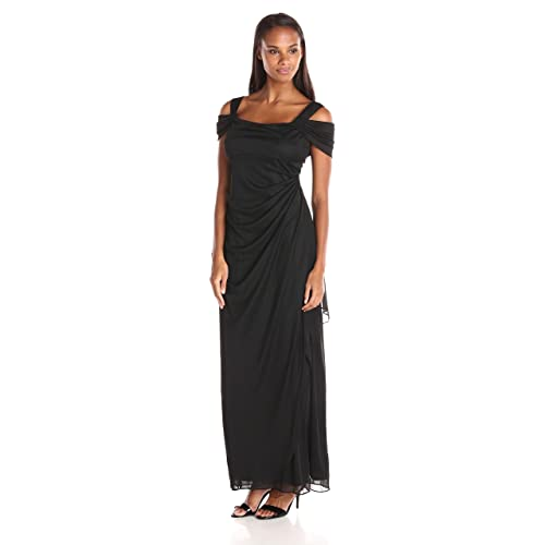 6fc27187add Alex Evenings Women's Long Cold Shoulder Dress (Petite and Regular Sizes)