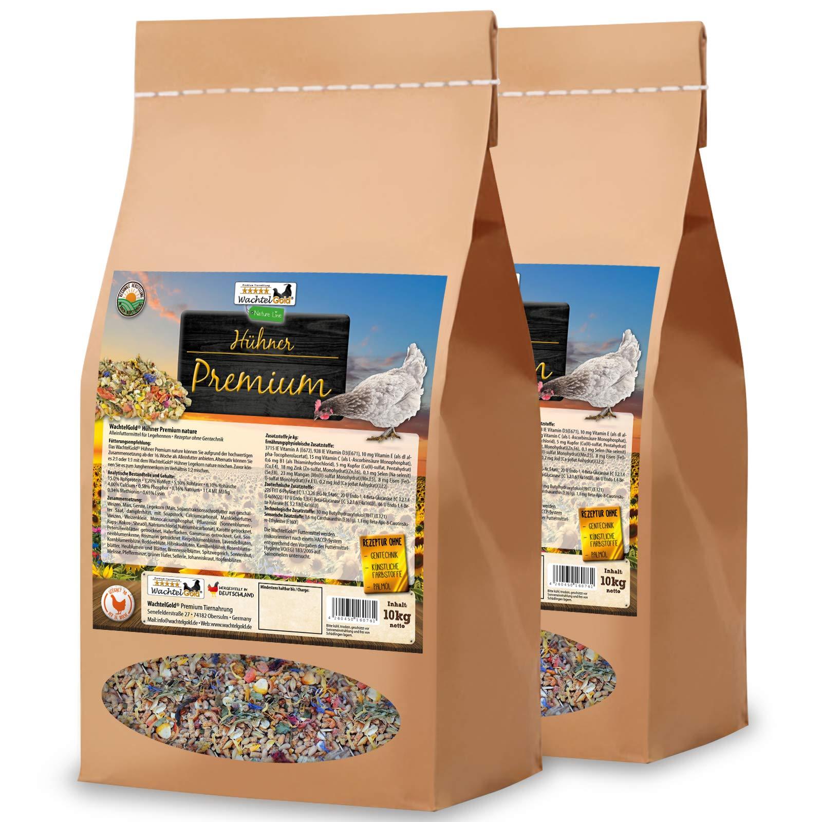 WachtelGold® Comida Premium de Pollo │ 20kg │ ✓ sin OGM │ con Muchas Hierbas, Semillas de chia y levadura de Cerveza │ Ideal para Pollos: Amazon.es: Productos para mascotas