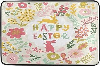 JSTEL Nonslip Door Mat Home Decor, Happy Easter Cute Bunny Durable Indoor Outdoor Entrance Doormat 23.6 X 15.7 Inches
