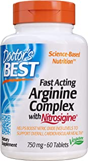 Doctor's Best Fast Acting Arginine Complex w/Nitrosigine, Boost Nitric Oxide, Blood Flow & Vessel Flexibility, Non-GMO, Ve...