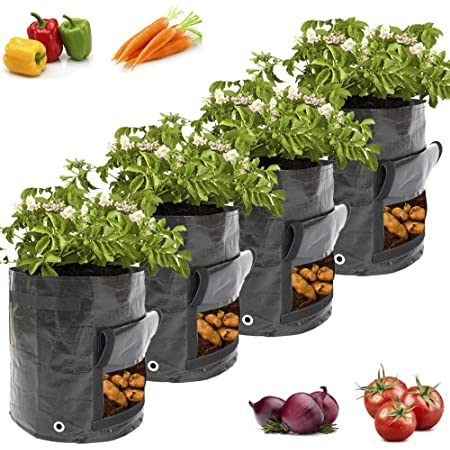 Pflanztasche mit Sichtfenster und Griffen Vliestopfbeh/älter f/ür Kartoffeln Tomaten Karotten HUYIYI 2er Pack Kartoffel Pflanzbeutel