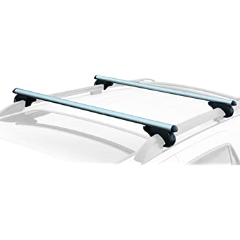 "CargoLoc 2-Piece 52"" Aluminum Roof Top Cross Bar Set – Fits Maximum 46"" Span Across Existing Raised Side Rails with Gap – Features Keyed Locking Mechanism, Silver"
