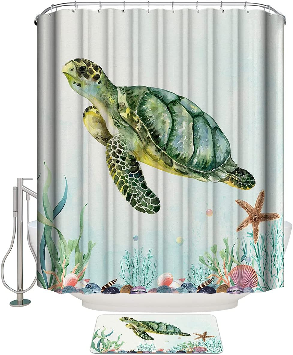COLORSUM Shower Curtain Sets with Super beauty product restock quality top Over item handling Marine Rugs Ocean Lif Non-Slip