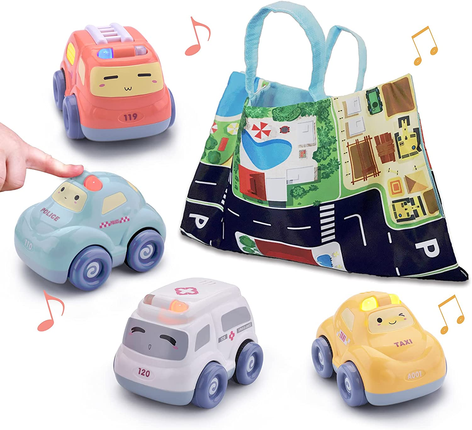 Baby Car Toys for 1 Year Old Boy, Pull Back Car Toys for Toddler 1-3 Boy Toys Car 4 Pack with Play Mat Storage Bag, 3D Light and Sound Kids Car Toys for 1+ Year Old Girls