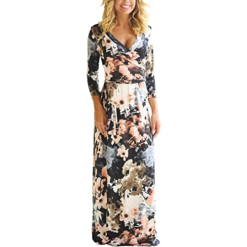 fd25bcddaaf Voguegirl Women Casual Floral Printed Hight Waist Maxi Dresses