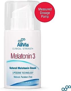 AllVia Melatonin 3 Cream - Melatonin Cream, Liposome Technology, Clinical Strength, Paraben Free - 2 Ounces