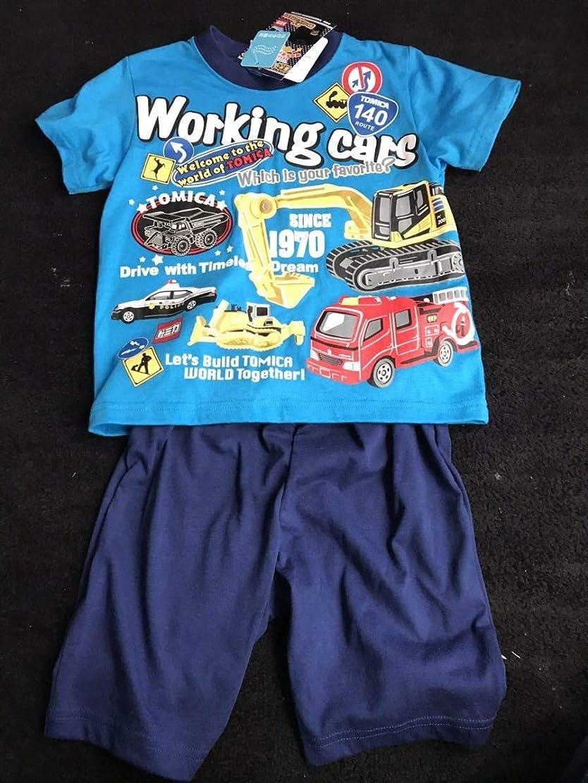 近く安定しましたに新品未使用品 トミカ 半袖パジャマ サイズ100 光るパジャマ 男の子 上下セット はたらく車 パトカー 警察 消防車