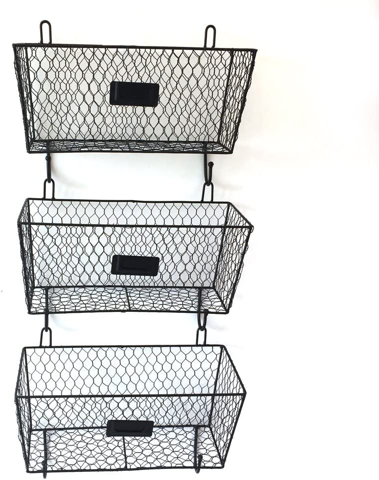 3pcs Hanging Wire Basket 新品未使用正規品 流行 Wall Baskets Mounted Multipur Storage
