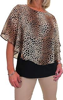 icecoolfashion Camicetta da Donna Cape Style Top Leopard Chiffon Nero sotto 42-54