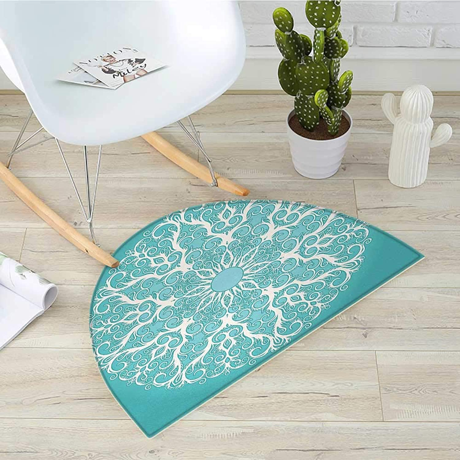Turquoise Semicircular CushionRound Curving Tree Branches Pattern Infinite Circle Symmetrical Cuves Floral Design Entry Door Mat H 31.5  xD 47.2  White