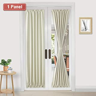 DWCN French Door Curtains – Rod Pocket Thermal Blackout Curtain for Doors with Glass Window, Kitchen and Patio Doors for Privacy, 25 X 72 Inches Long, 1 Curtain Panel with Tieback, Beige