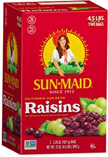 Sun-Maid Natural Raisins -  Dried Fruit Snacks Healthy snacks for kids - 72oz (4.5lbs total)