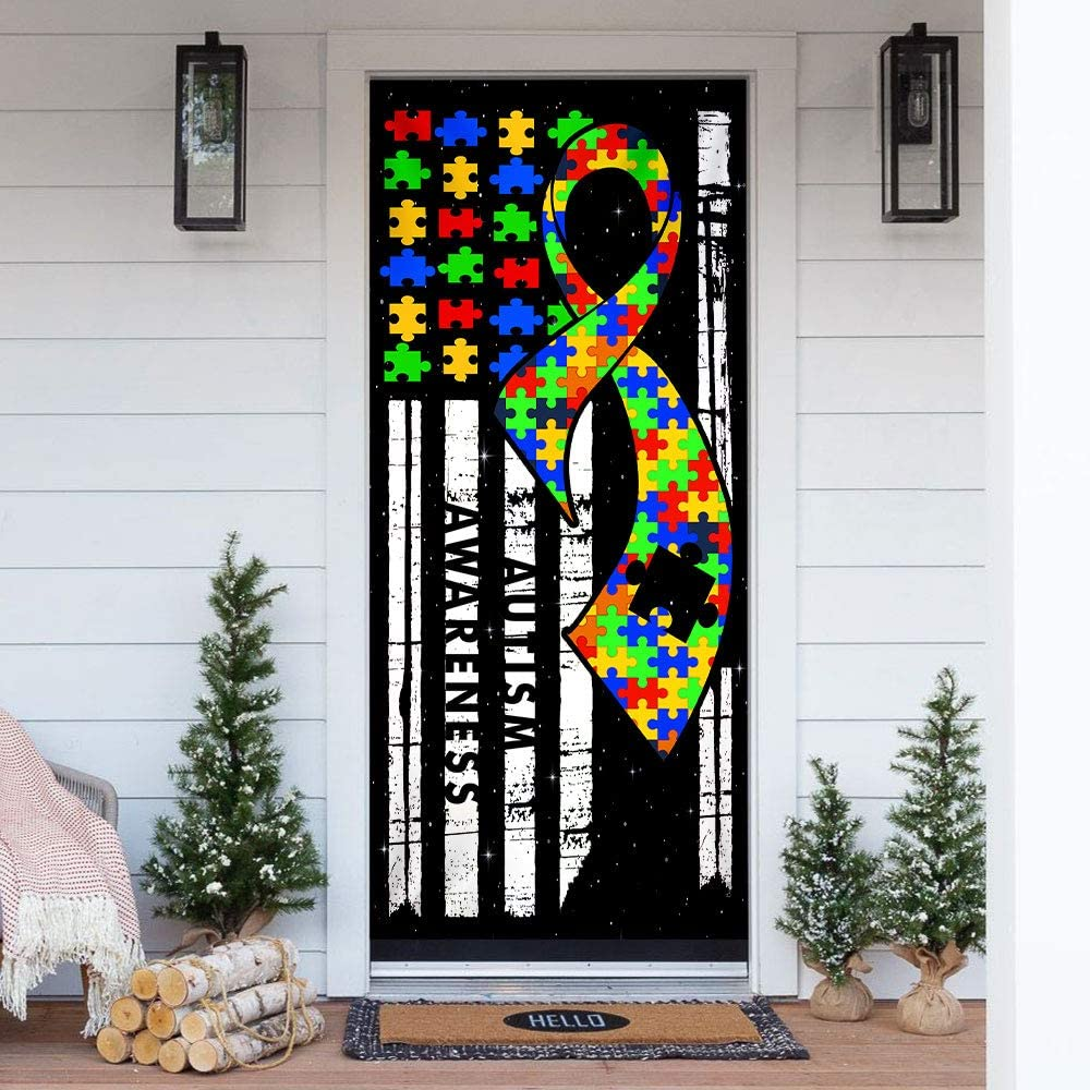 30x80 Outdoor Nativity Scenes Sign for Front Door Draft Porch Home Holidays Decorations FLAGWIX Door Covers Printed-Autism Awareness Door Cover QNN18D