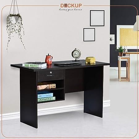 Deckup Giona Engineered Wood Study Table and Office Desk (Dark Wenge, Matte Finish)