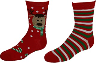 CTM Girl's Christmas 2PK Butter and Flat Knit Socks Combo Set