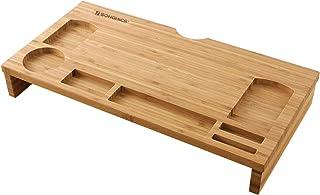 SONGMICS Bamboo Wood Monitor Riser with Storage Organizer Office Computer Desk Laptop Cellphone TV Printer Stand Desktop C...