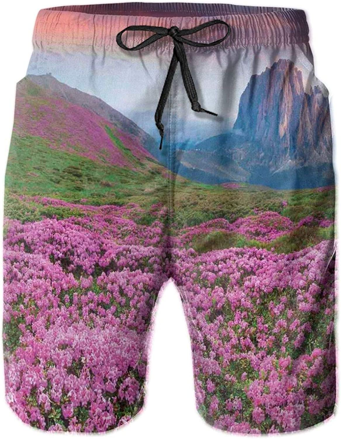 Colorful Field of Blossom in The Morning Grand Dramatic Mountains Canyon Art Swimming Trunks for Men Beach Shorts Casual Style,XL