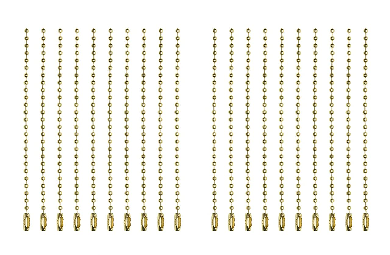 Shapenty 2.4mm Diameter Metal Ball Bead Chains Connector Clasp Extension Keychain Tag Key Rings for Jewelry Finding Making Accessories, 4 Inch, 20PCS (Gold)