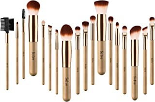 SOLVE 18pcs Makeup Brushes Set Wooden Rose Gold Brush Powder Foundation Round Eyeshadow Fan Kabuki Brushes Kit with Case