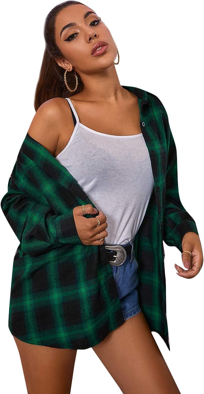 SweatyRocks Womens Long Sleeve Collar Long Button Down Plaid Shirt Blouse Tops