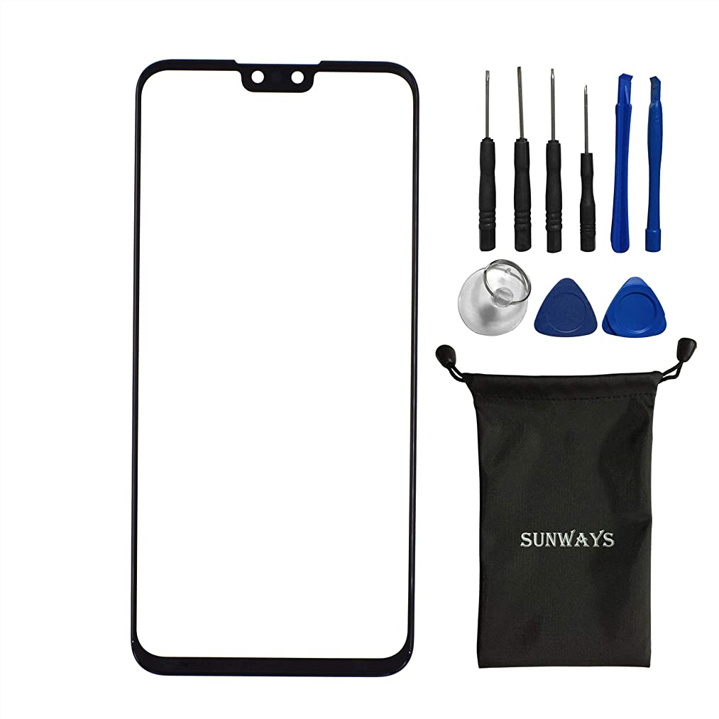 sunways Outer Glass Screen Replacement Compatible with Huawei Y9 2019 Enjoy 9 Plus(Black)