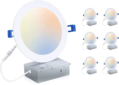 Cloudy Bay 6 inch 3000K/ 4000K/ 5000K Three Color Temperature Selectable, Dimmable 15W CRI90+, Ultra Thin LED Recesse...