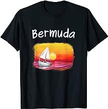 Sailing Bermuda Souvenir Cool Sunset Ocean Sail Boat Drawing T-Shirt