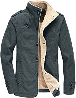 Vcansion Men's Winter Fleece Windproof Jacket Wool Outerwear Single Breasted Classic Cotton Windbreaker Jacket Coats