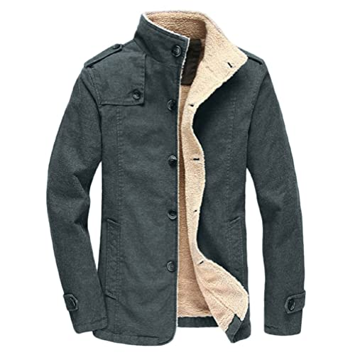 3f032979b41d Vcansion Men s Winter Fleece Windproof Jacket Wool Outerwear Single  Breasted Classic Cotton Windbreaker Jacket Coats Bronze