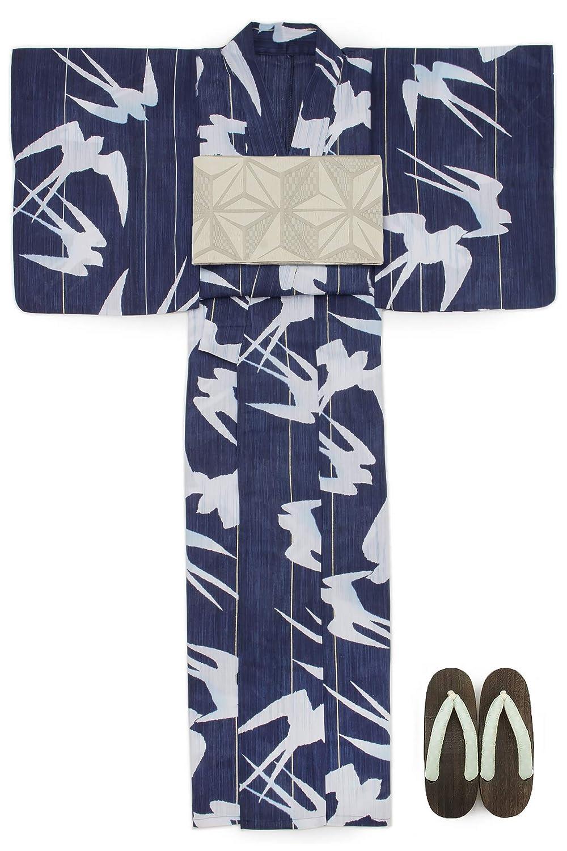 (ソウビエン) 浴衣 セット レディース 紺色 白 ホワイト 燕 ツバメ ラメ 綿麻 兵児帯 マクレ ボヌールセゾン