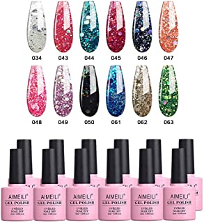 AIMEILI Soak Off UV LED Gel Nail Polish Multicolour/Mix Colour/Combo Colour Set Of 12pcs X 10ml - Kit Set 7