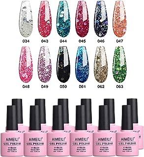 AIMEILI Soak Off UV LED Gel Nail Polish Multicolor/Mix Color/Combo Color Set Of 12pcs X 10ml - Kit Set 7