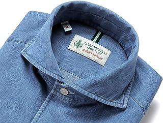 ルイジボレッリ ルイジボレリ LUIGI BORRELLI / 20SS!製品洗いコットンダンガリー無地イタリアンカラーシャツ「VESUVIO(9366)」 (ウォッシュドインディゴブルー) メンズ