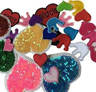 FJTANG 26pcs Crown & Love Heart Embroidery Patches Sew On Appliques(Randomly)