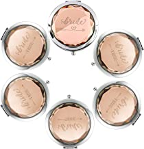 Pack of 6 Compact Pocket Makeup Mirrors - 1 Bride Makeup Mirror 5 Bride Tribe Makeup Mirrors and 6 Gift Bags for Bachelorette Party Bridal Shower Hen Party Bridesmaid Proposal Gifts (Champagne)