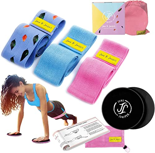 June & Juniper Resistance Booty Bands Set: 3+1 Non-Slip Fabric Exercise Bands for Butt, Leg & Arm Workout. Perfect Gy...