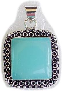 Green Onyx Pendant, Silver Plated Brass Pendant, Handmade Pendant, Gift Jewelry, Women Jewellry, Fashion Jewellry, BRS-12481