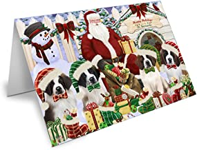 Happy Holidays Christmas Saint Bernards Dog House Gathering Note Card NCD58412 (10)