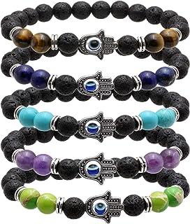 MILAKOO 5 Pcs Jewelry Hamsa Hand Beaded Stretch Bracelet - Natural 8mm Lava Stone Protection