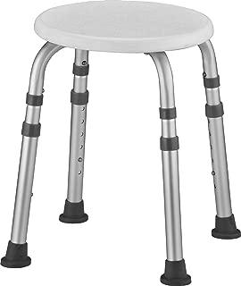 NOVA Medical Bath Stool, Adjustable Round Bath & Shower Seat Stool, Portable for Travel, White