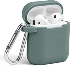 Airpods Case, GMYLE Silicone Protective Shockproof Wireless Charging Airpods Earbuds Case Cover Skin with Keychain Set Compatible for Apple AirPods 1 & 2 - Midnight Green