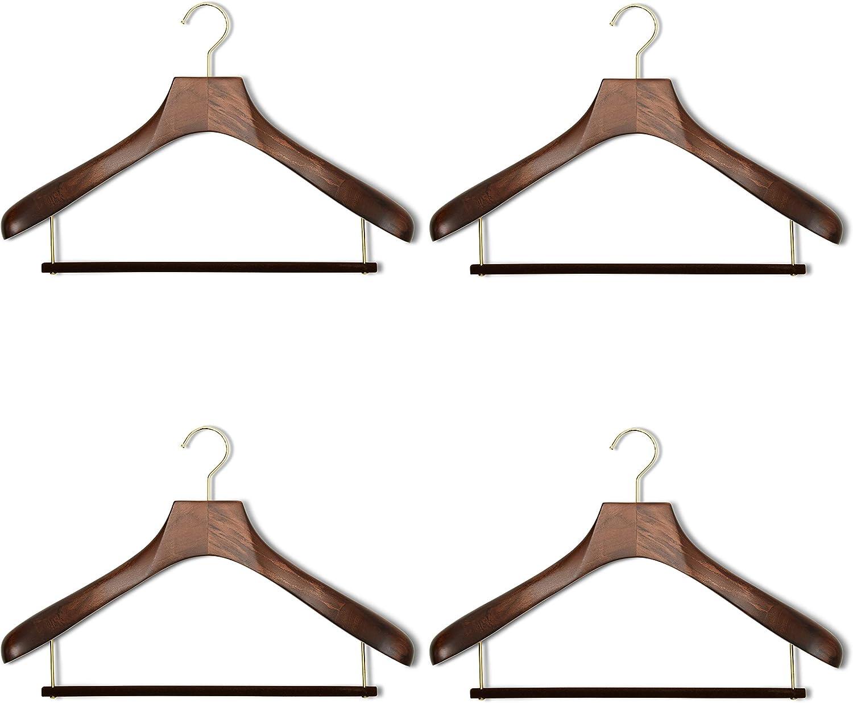 Wooden Hanger with Velvet Bar - Stained Ashwood Dark Opening large release sale 5 ☆ very popular 4 Pack
